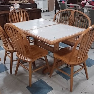 Tile Top Table, Bench, 4 chairs